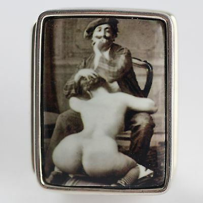 ENAMEL VICTORIAN STYLE EROTIC ARTIST PILL BOX  925 STERLING SILVER HALLMARKED