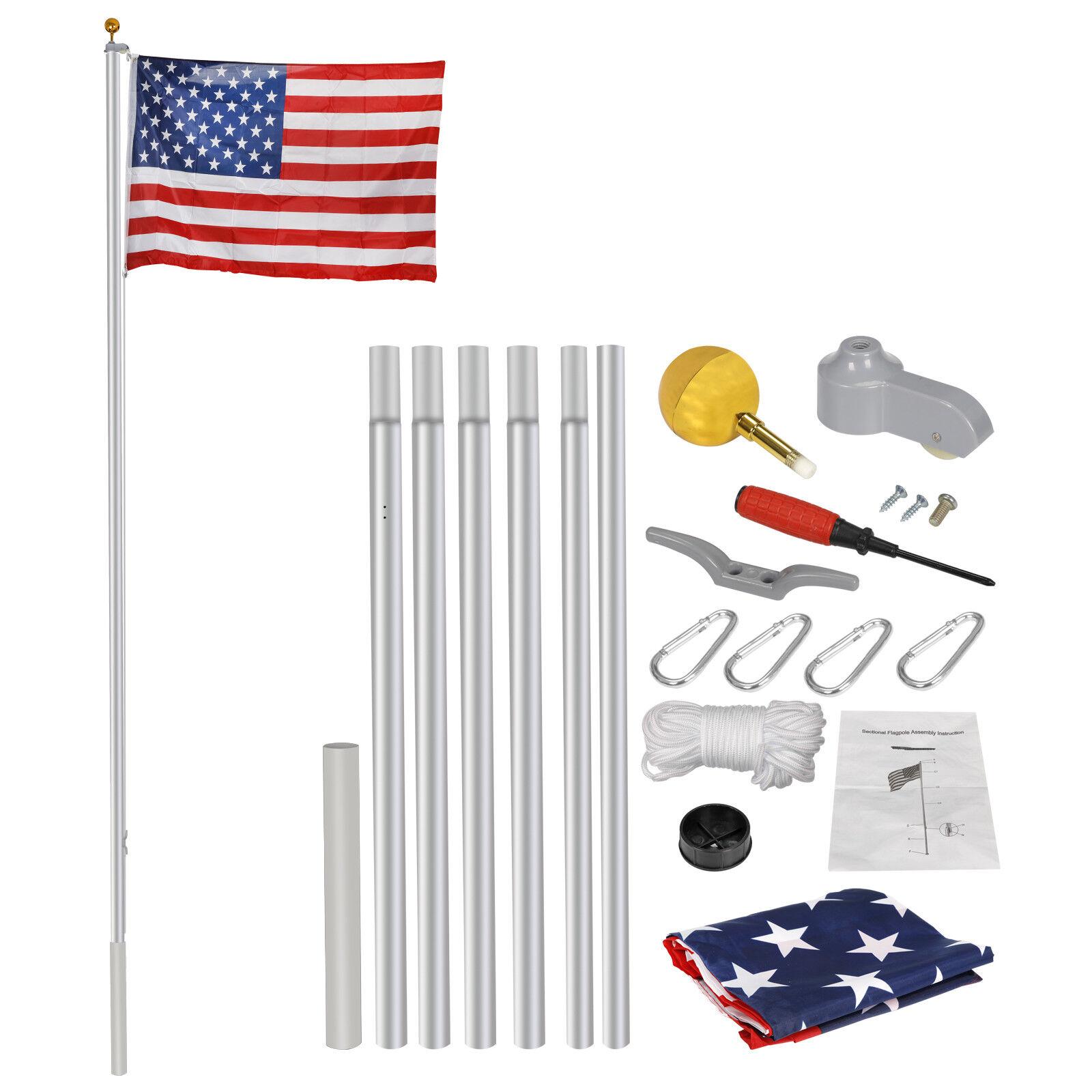 20 Ft Aluminum Flag Pole Kit  Halyard PoleWith 1 Free 3'X5′ US Flag Heavy Duty Décor