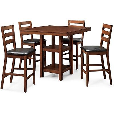 Counter Height Dining Table Set w/ 4 High Top Table Chairs Small Kitchen 5 Piece Counter Height Dining Room Sets