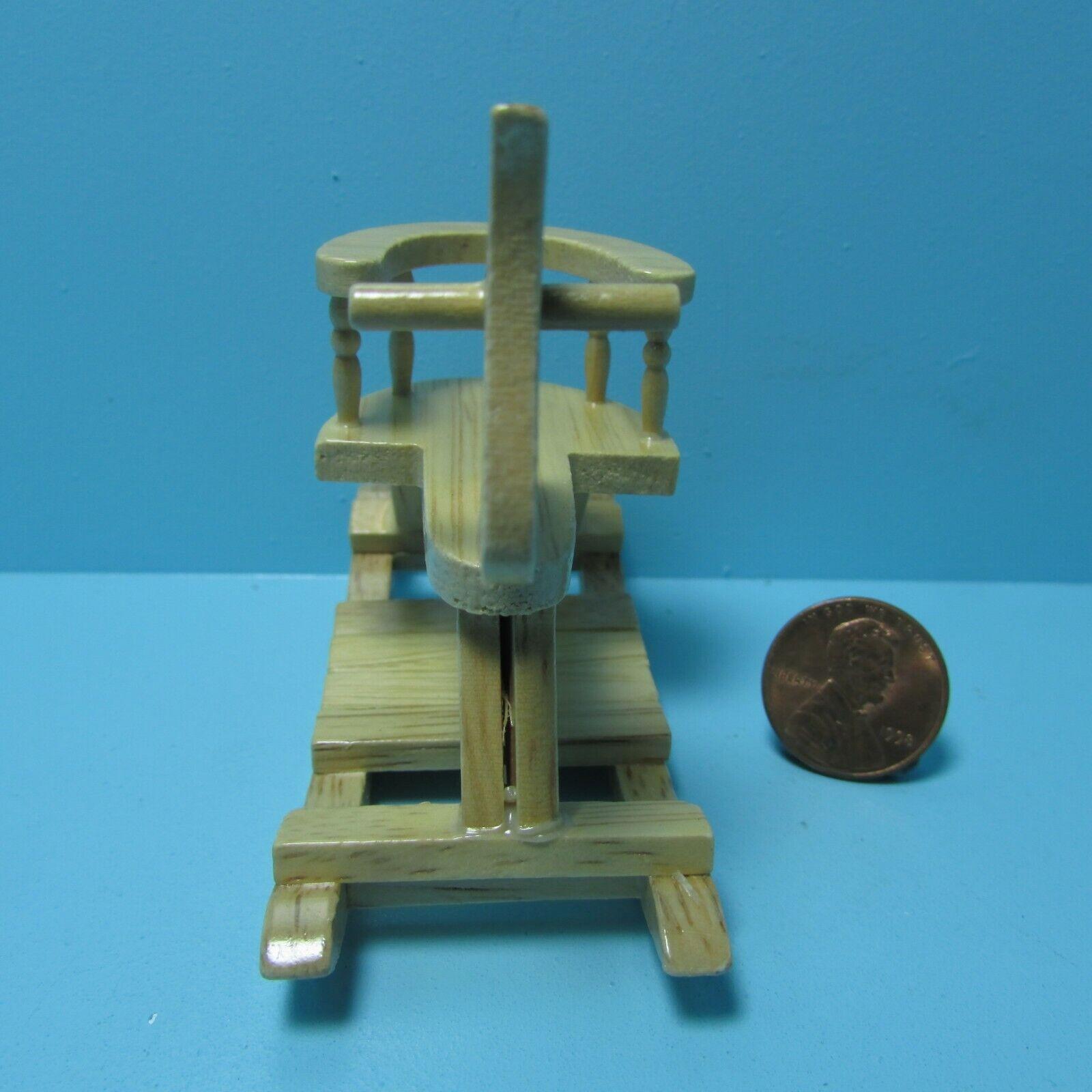 Dollhouse Miniature Wood Rocking Horse In Oak For Nursery T6018N - $8.09