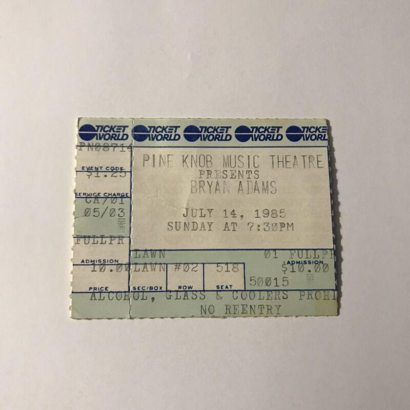 Bryan Adams Pine Knob Music Theatre Concert Ticket Stub Vintage July 14 1985