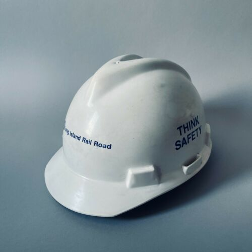 "Vintage LIRR Hard Hat Size M ""Think Safety"" Long Island Rail Road MSA Trains"