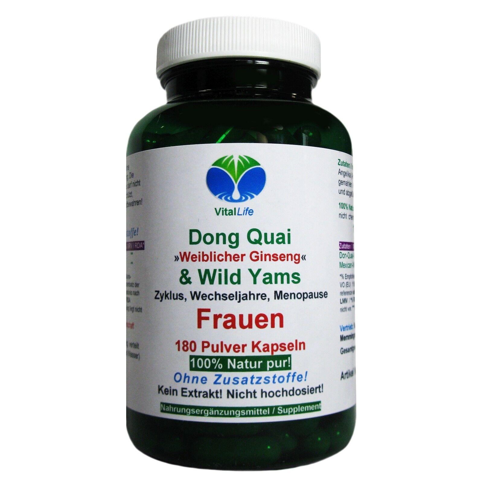Dong Quai & Wild Yams 180 Pulver Kapseln Ohne Zusatzstoffe Natur Pur. 26407