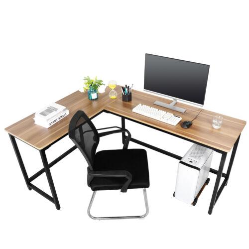Corner L-Shaped Table Wooden Computer Desk Workstation Light