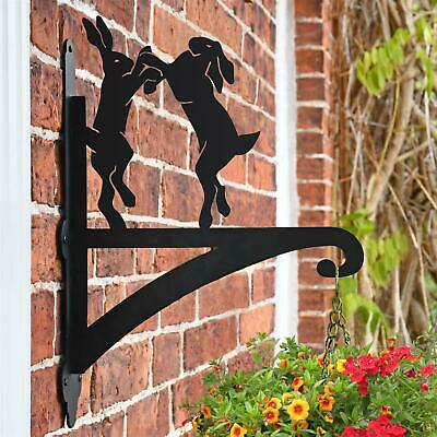 New Boxing Hares Iron Hanging Basket Bracket - 48cm x 33cm