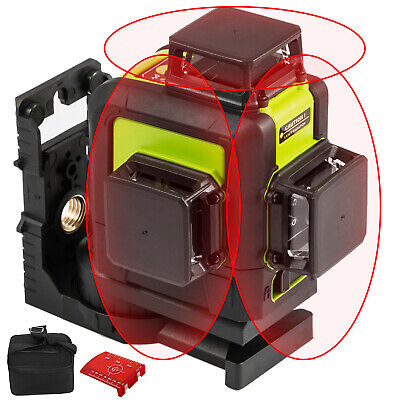 Rotary Laser Level Kit Self-leveling 12 Line Red Beam 65 Range 3d Cross 360