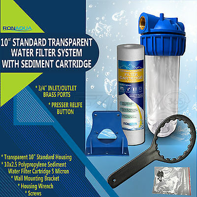 """10"""" Clear Standard Whole House Water Filter System with Sedi"""