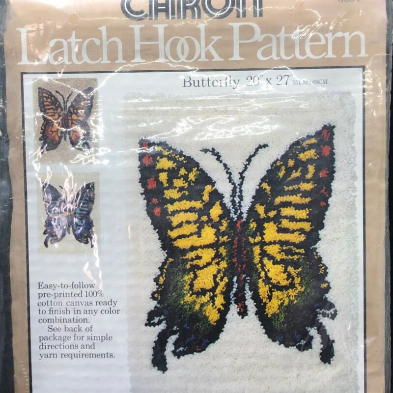 "Caron Latch Hook Pattern Canvas Butterfly 20"" x 27"" #3054 1977 Made In USA New"