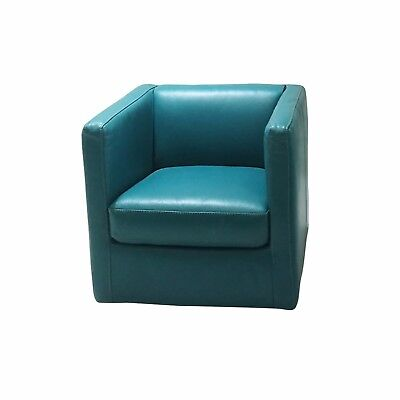 Modern Accent Leather Tub Chair Seat Lounge Sofa Armchair Occasional Swivel Blue