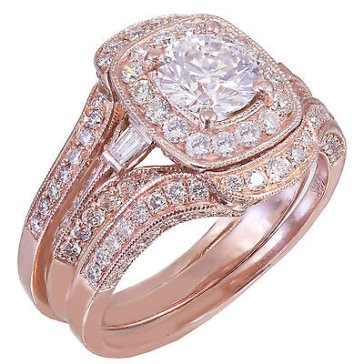 GIA H-VS2 14k Rose Gold Round Cut Diamond Engagement Ring And Bands 2.70ctw 7