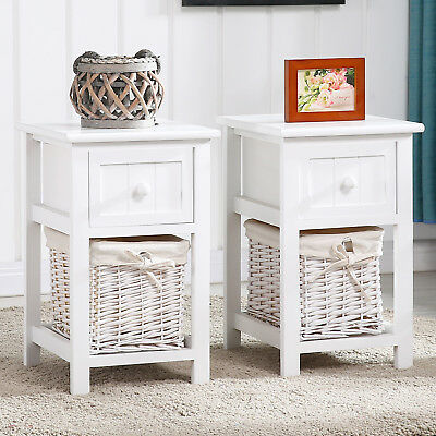 Modern Set of 2 Nightstand End/Side Bedside Table with Wicker Storage Wood White ()