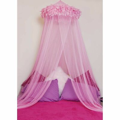 Sheer Canopy (Mombasa Feather Boa Hoop Sheer Netted Canopy Twin or Full Bed,)