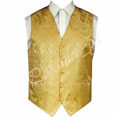 Gold Paisley Tuxedo Suit Dress Vest Waistcoat Formal Party Prom Wedding XS - 6X - Gold Tux