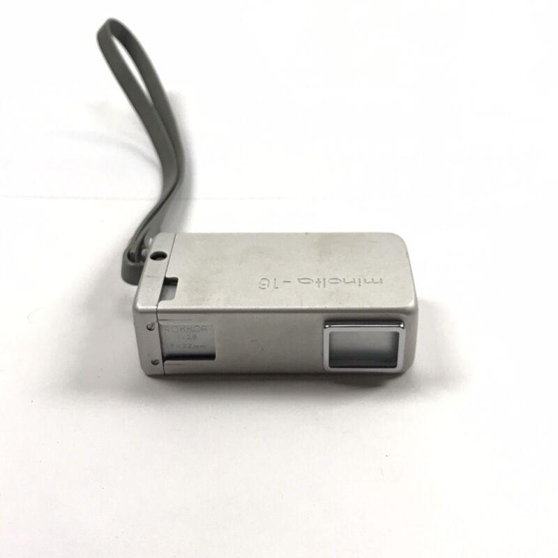 MINOLTA 16 Rokkor 1:2.8 22mm + UV filter Film Subminiature Spy Camera Working