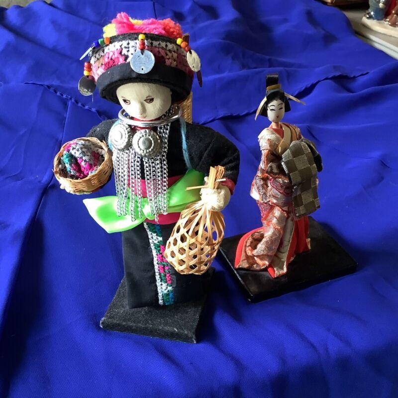 VINTAGE Thai Chiangmai Akha Tribal Ethnic Handmade Doll On Stand & Geisha Doll