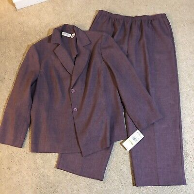 NWT Alfred Dunner Womens 18W 2 Piece Purple Blazer Pant Suit