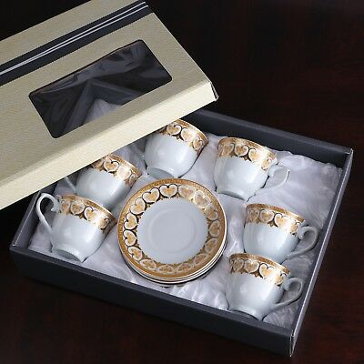 - Luxury Espresso Coffee Set Gold 💕 6 Cups 6 Saucers in Gift Box