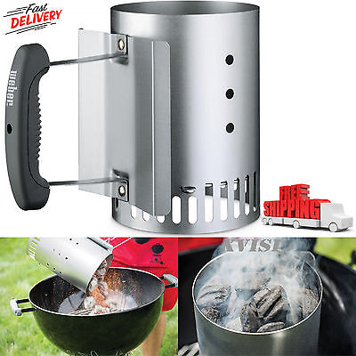 (BBQ Barbecue Chimney Starter Charcoal Grill Steel Rapid Quick Fire Lighter New)