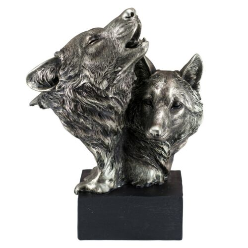 """Pewter/Silver Tone Wolf Head Bust With 2 Wolves Figurine Statue 8.75""""H Resin New"""