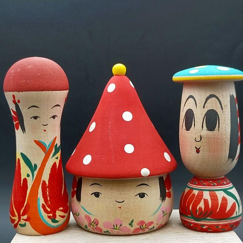 Japanese wooden kokeshi,Three cute mushrooms ,Shida Kikuhiro, Yamagata.