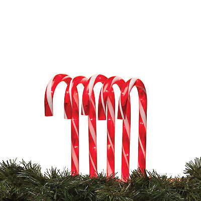 Holiday 5pc Lighted Candy Cane Light Pathway Markers Christmas Yard Stakes Set](Christmas Light Yard Stakes)