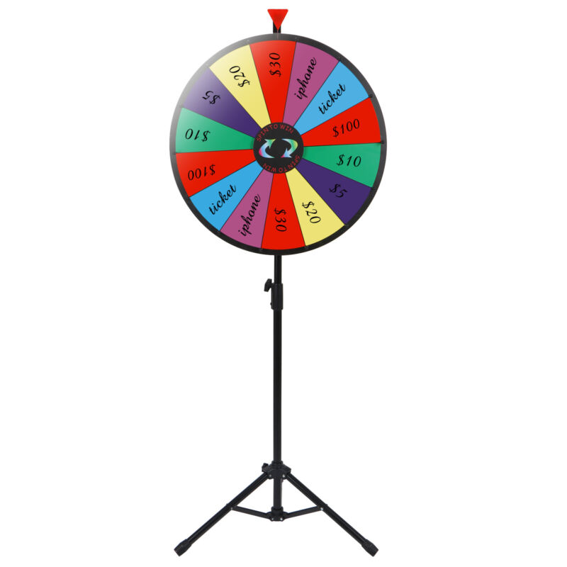 """24"""" Color Prize Wheel Fortune w Folding Tripod Floor Stand Carnival Spinnig Game"""