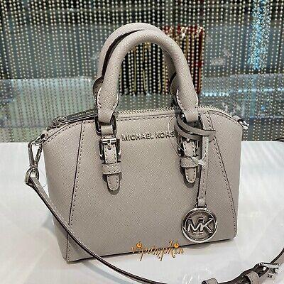 Michael Kors Ciara XS Mini Crossbody Saffiano Leather Giftables Bag Pearl Grey