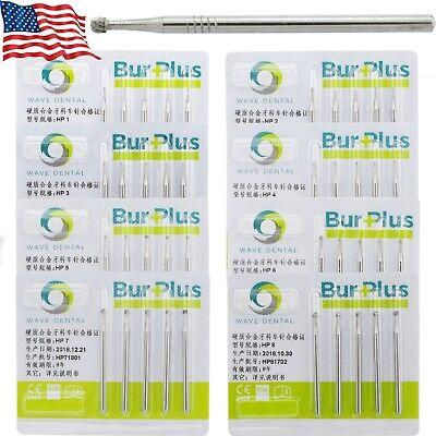 Usa Wave Dental Carbide Hp Burs Long Straight Handpiece Round 1 2 3 4 5 6 7 8