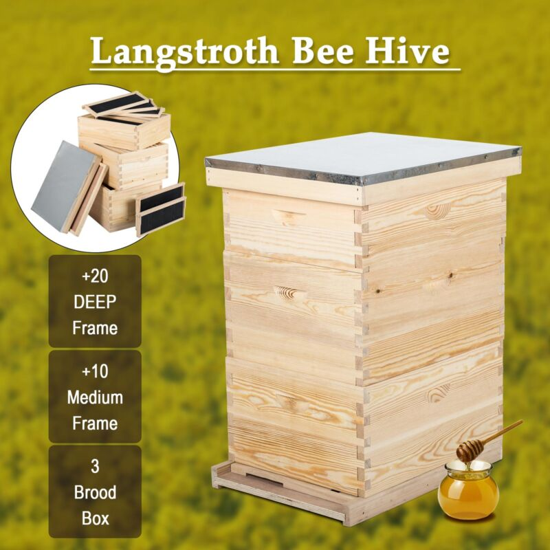 10-Frame Hive Frame/Bee Hive Frame/Beehive Frames w/ Metal Roof for ...