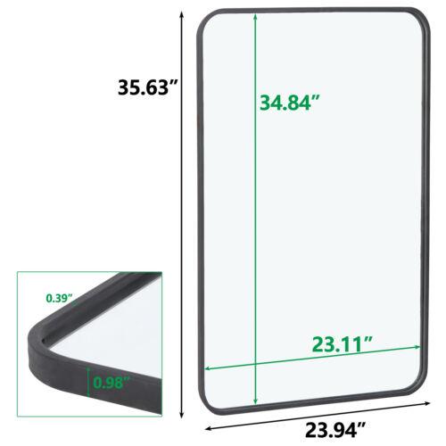 24″ x 36″ Rectangular Wall Mirror Metal Black Frame Bathroom Bedroom Decorative Home & Garden