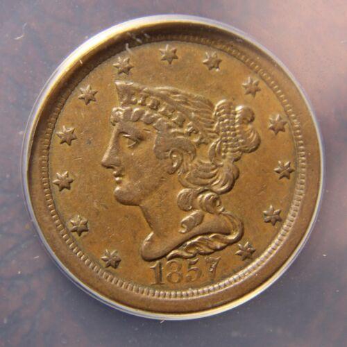 1857 Braided Hair Half Cent, C-1, XF-45