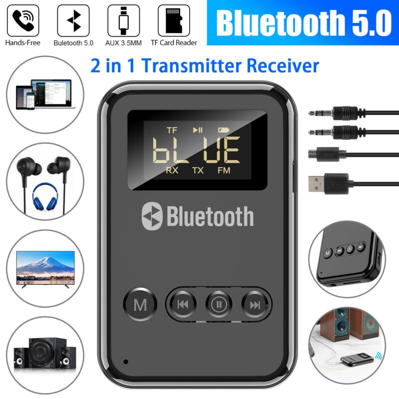 USB Bluetooth 5.0 Transmitter Receiver 4in1 Wireless Audio 3.5mm Aux Car Adapter