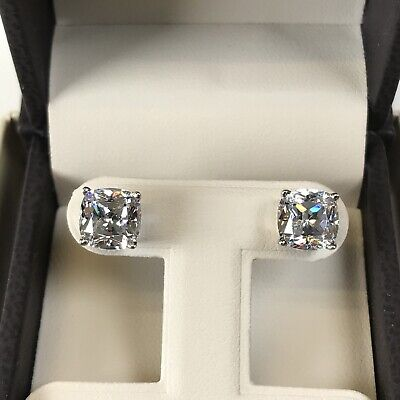 4Ct Cushion Diamond Studs Earrings Fancy White Man Made 14k Solid Gold W, Y or R