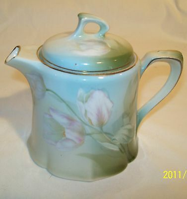 Estate Sale! Mini Teapot Green Pink Tulips RS Germany!