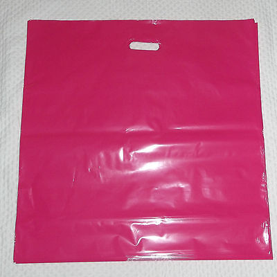 Glossy Jumbo Hot Pink Shopping Merchandise Bags 20x20x5 Lot 25