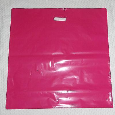 Glossy Jumbo Hot Pink Shopping Merchandise Bags 20x20x5 Lot 25