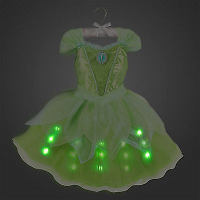 Disney Store Tinkerbell Fairy Princess Dress Costume Lights Up Halloween RETIRED - Tinkerbell Halloween Costume