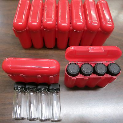 4 - 1 Dram Glass Vials With A Carrying Case Storage Case Red
