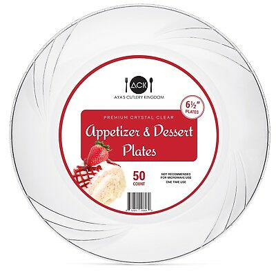 "Disposable Clear Plastic Plates - 50 Pack - 6.5"" Round Dessert and - Disposable Dessert Plates"
