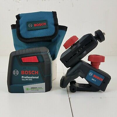 Bosch Gll40-20g Green Laser Level With Mm2 Level Mount And Pouch