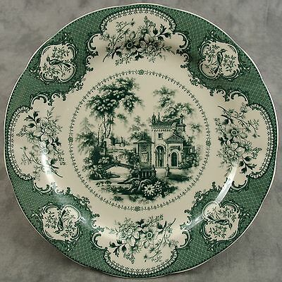 "GREEN & CREAM VICTORIAN CASTLE COUNTRYSIDE FLORAL TOILE TRANSFERWARE PLATE ~10""~"