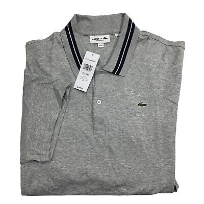 Lacoste Men's Regular Fit Interlock Croc Logo Polo Shirt Silver Chine 4XL New