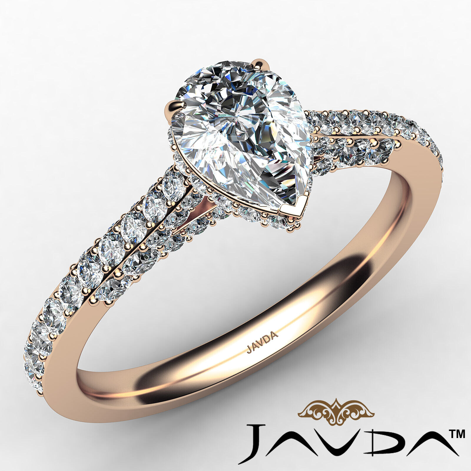 Pear Diamond Engagement Pave Ring GIA Certified H Color & VS2 clarity 1.06 ctw 2