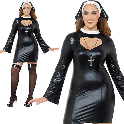 Adult Ladies Nun Costume 2 Sizes Fancy Dress Religious Costume