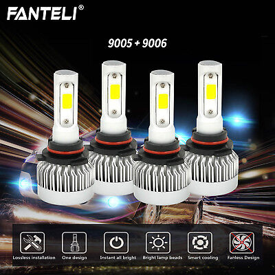 4 Bulbs Kit 9005 9006 Fanless LED 498000LM Combo Headlight High Low Beam 6000K