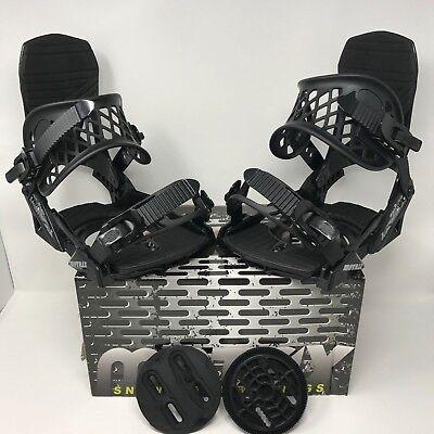 Men's Large (10-12) M8trix Snowboard Bindings 4x4, Burton 3D, & EST Black/Silver