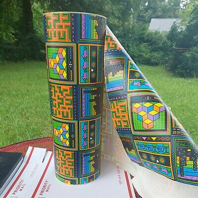 RARE VINTAGE RETRO VIDEO GAME WRAPPING PAPER ROLL DEPARTMENT STORE 2 BIT GRAPHIC