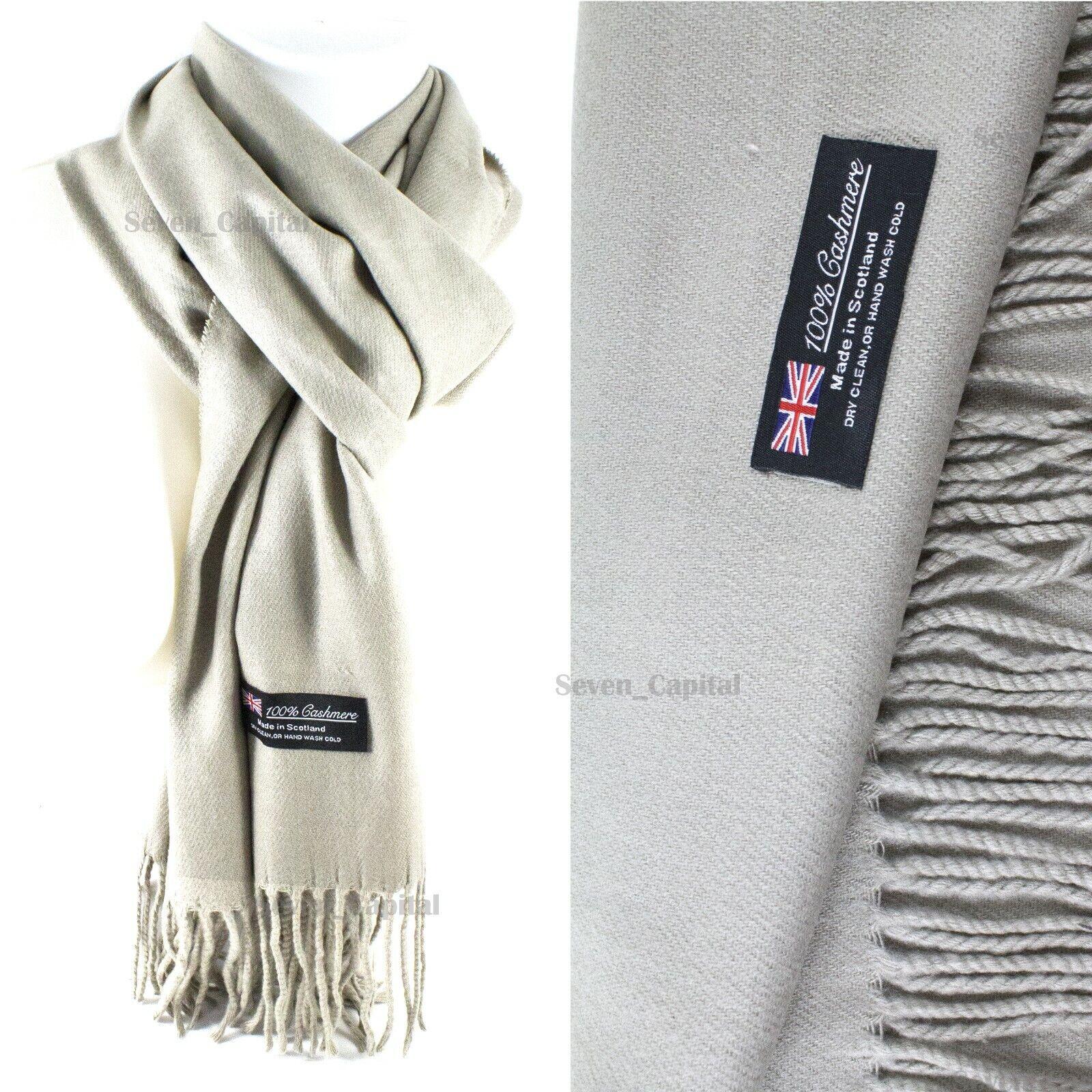 Mens Womens Winter Warm SCOTLAND Made 100% CASHMERE Scarf Scarves Plaid Wool 40. Plain: Grey