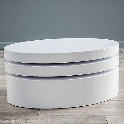 Modern Design Oval White Hi-Gloss Swivel Rotating Coffee Table