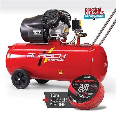 Air Compressor 100L 3HP V Twin 14.1CFM Burisch + 10M Airline Hose